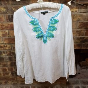 New For Cynthia peasant embroidered boho tunic